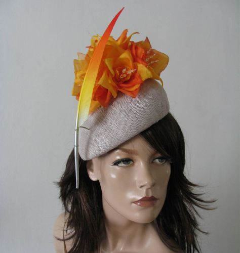 "Orange Yellow Silver Beret Headpiece ""Soph"" Habutai Ombre Silk Flower + Feather Hat Ascot Headpiece"